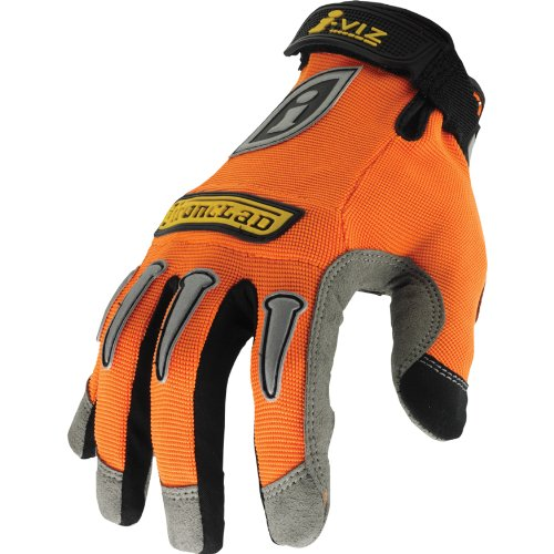 Ironclad IVO-03-M I-Viz Reflective Gloves, Reflective Orange, Medium -