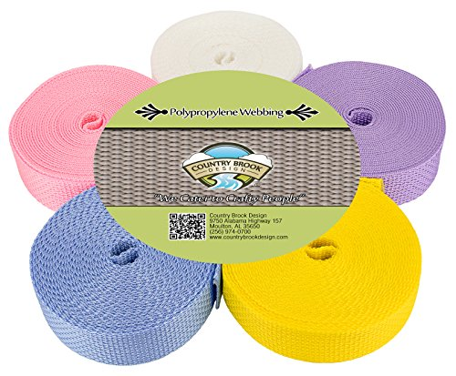 Design Pastel (Country Brook Design 1 Inch Polypro Webbing #3 Pastels, 5 Yards of 5 Colors)