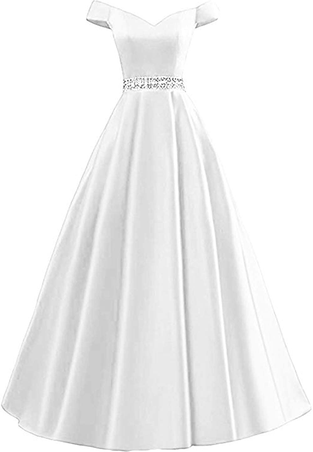 White Rmaytiked Women's Off Shoulder Prom Dresses Long 2019 Satin Beaded A Line Formal Evening Ball Gowns with Pockets