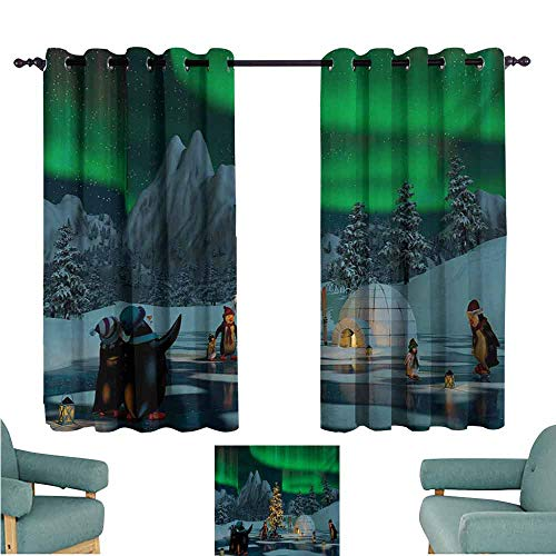 DONEECKL Heat Insulation Curtain Aurora Borealis Penguins on Frozen Lake with Christmas Tree Noel Arctic Circle Design Light Blocking Drapes with Liner W55 xL72 Lime Green ()