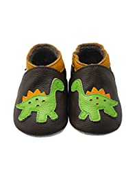 Sayoyo Baby Dinosaurs Soft Sole Beige Leather Infant and Toddler Shoes