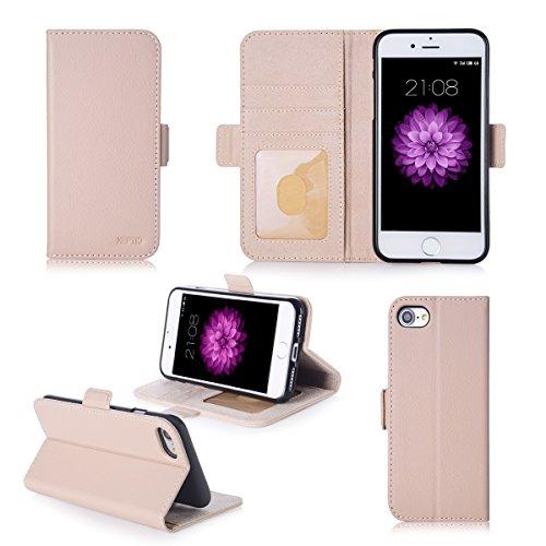 Apple iPhone 7 / iPhone 8 4.7 pouces : Housse Portefeuille luxe beige crème Cuir Style avec stand - Housse wallet coque de protection iPhone7 / iPhone8 avec porte cartes - Accessoires pochette XEPTIO