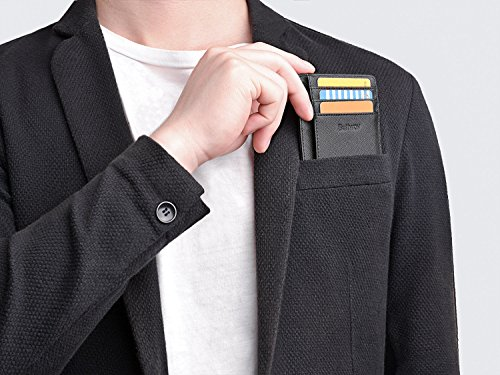 Slim Minimalist Leather Wallets for Men & Women - Cross Blackish Green by Buffway (Image #5)