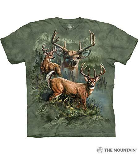 The Mountain Deer Collage Adult T-Shirt, Green, - Mountain Deer