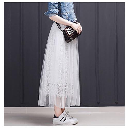 3cb77e44a Falda Mujer Elegantes Encaje De Malla Faldas Largas Tul Verano Coctel  Cintura Alta Falda Plisada Estilo
