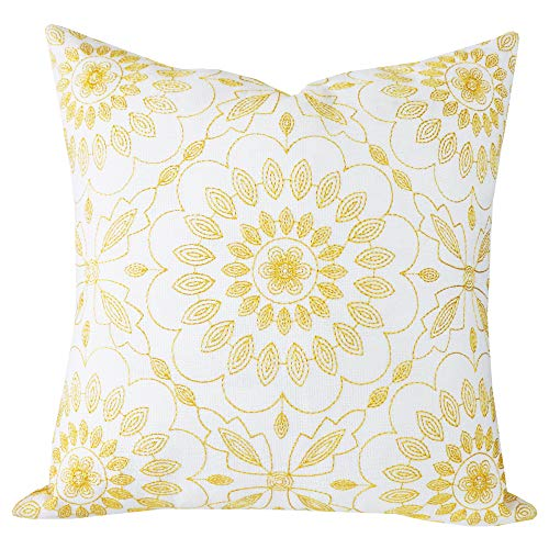 SLOW COW Cotton Linen Embroidery Pillow Cover Pillowcase Decorative Square Throw Pillow Cover for Couch Sofa 18 x 18 Inches Yellow Gold (Covers Sofa Unique)