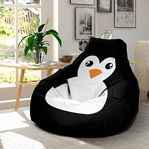 Funny Cartoon Penguin Ultra Soft Bean Bags Chairs Beanless Bag Chair with Microsuede Cover Birthday Animal Themed Gifts for Kids Teens Adults Boys Girls Penguins Lovers ()