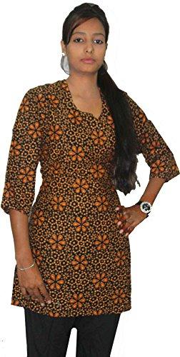 Indian-Orange-Color-Top-Kurta-Women-Ethnic-Tunic-Kurti-plus-size-Floral-Print-100-Cotton-Large