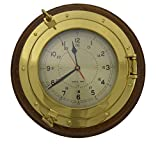 13.25''Dia Brass & Wood Desk Porthole Clock