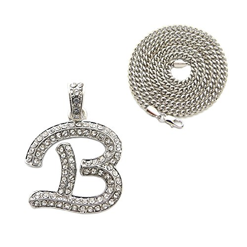 Fashion 21 Iced Out Alphabet Letter Initial Pendant 3mm 24