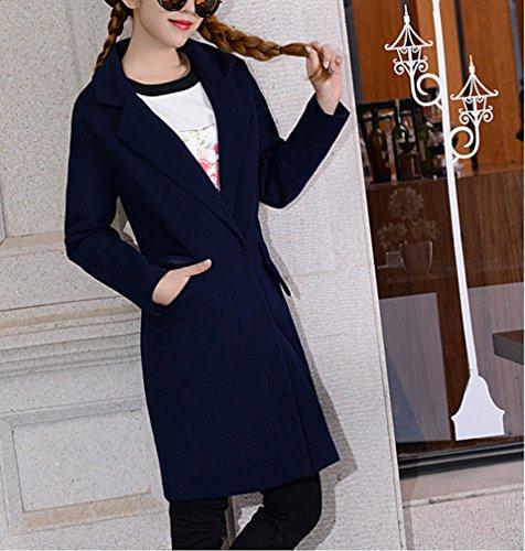 Maniche Casual giacca Invernale Cappotto Blended Da Di Lungo Outwear Militare Marina Lunghe Donna Lana wv0Zn8Iq