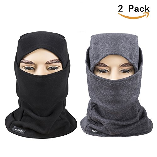 Fleece Lined Balaclava, Winter Windproof Ski Face Mask ,Thermal Motorcycle Neck Warmer and Tactical Balaclava Hood 2 Pack by REDESS (Black,Gray)