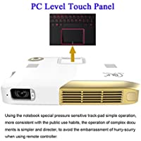 Deeirao 3D Portable DLP Home Theater Projector Android4.4 Octa Core Support 2160P 4K UHD Battery Work 3hours PC Touch Panel PS4 Youtube Facebook HDMI USB Gold