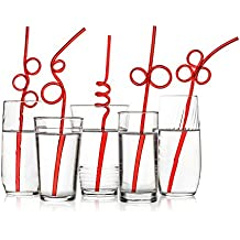 40 Premium Crazy Party Drinking Straws - WIDER - Red Value Pack - BPA-Free, Recyclable PET Plastic