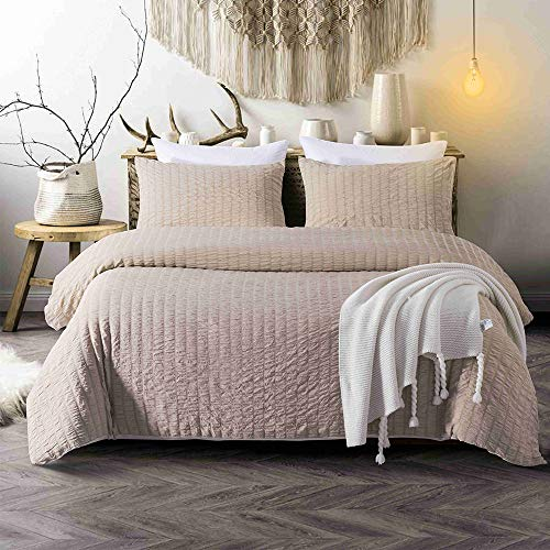 CHENFENG Duvet Cover Queen Set 3 Piece Seersucker Striped Comforter Hotel Bedding Set Collection,Light Brown (Bed Seersucker Sheets)