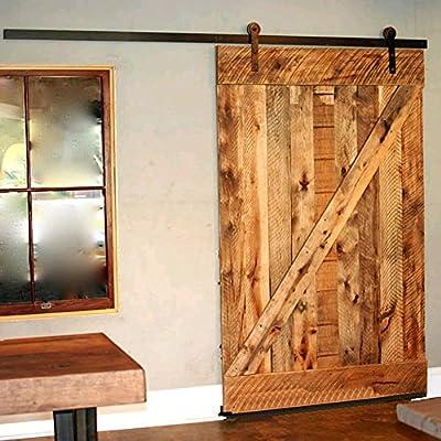 WinSoon 10/12/13/15/16FT Black Straight Design Sliding Roller Barn Single Wood Door Hardware Closet Track Kit Set