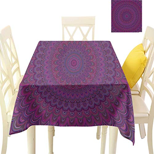 - Bohodecor Dark Purple Tablecloths, Fractal Ornament Background Round Symmetrical Vector Pattern Graphic Design Rectangular Fabric Table Cloths for Dining Room Kitchen, 60'' x 84''