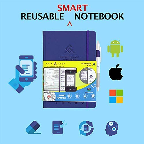 Dexter Smart Erasable & Reusable Notebook | Premium Hard Bound, Professional Daily Journal for To-Do List, Goals & Time Management, CamScanner iOS, Android, Windows app compatible