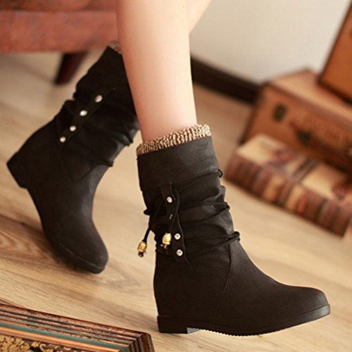 HiTime Women's Casual Cross Straps Slouch Boots Low Wedge Heels School Girls Moccasin Bootie Warm Calf Boots Black V7iAf