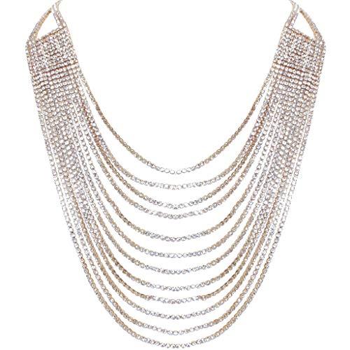 Humble Chic Layered Statement Necklace - Darling Waterfall Simulated Diamond CZ Crystal Multi-Chain Bib, -