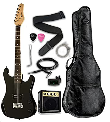 "3/4 Scale 36"" Kids Child Starter Electric Guitar Pack EP36 with 3W Amp, Digital Tuner, Gig Bag, Strap, Cable, Replacement Strings, Whammy Bar, Picks by RAPTOR"