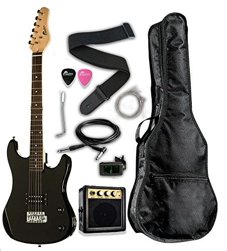 Raptor EP36-BK3/4 Scale 36″ Kids Child Starter Electric Guitar Pack EP36 with Digital Tuner, Gig Bag, Strap, Cable, Replacement Strings, Whammy Bar, Picks, 3W/Amp, Black