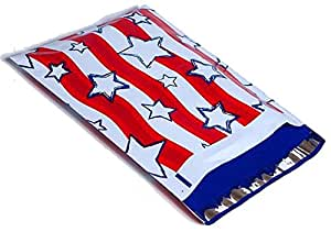 10x13 Red, White, & Blue Stars and Stripes Designer Poly Mailers Shipping Envelopes Boutique Custom Bags (100)