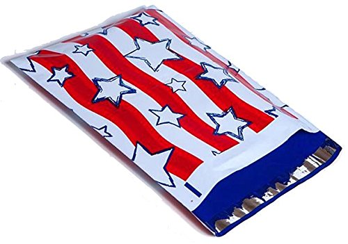 Red Stripe Poly Bag - 10x13 Red, White, & Blue Stars and Stripes Designer Poly Mailers Shipping Envelopes Boutique Custom Bags (100)