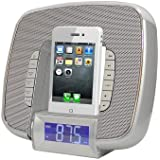 Pyle-Home Docking/Aux Input Clock Radio with FM Receiver and Dual Alarm Clock for iPod/iPhone PICL29S (Silver) (Discontinued by Manufacturer)