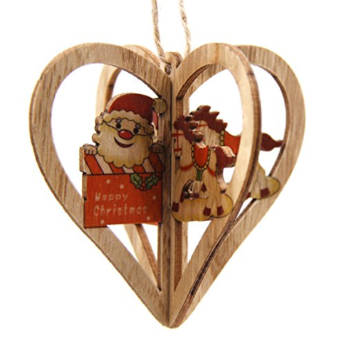 Texas A&m Inflatable - Gome-z 3Sets 3D Creative Christmas Wooden Pendants Ornaments DIY Star&Heart Christmas Party Decorations Xmas Tree Ornaments Kids Gift Heart Santa Horse