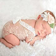 Mummyhug Cute Baby Girl Photography Prop Vest Onesie with Bowknot (Off-White)