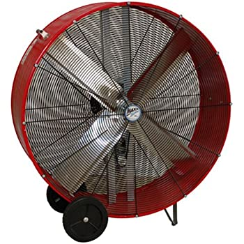 MaxxAir BF42BD RED High Velocity Belt Drive Drum Fan, 42-Inches, Red