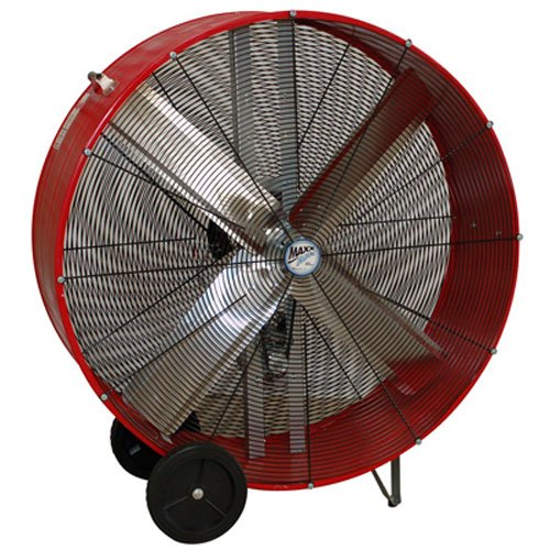 MaxxAir BF42BD High Velocity 2-Speed Belt Drive Drum Fan, Heavy Duty Potable Barrel Fan, 42-Inches, 13300 CFM, Red