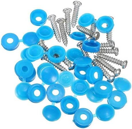 BLACK 32 x NUMBER PLATE FIXING HINGED CAPS /& SCREWS YELLOW //BLUE//WHITE