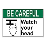 ComplianceSigns Vinyl ANSI BE CAREFUL Watch Your Head Labels, 5 x 3.50 in. with English Text and Symbols, White, pack of 4 offers