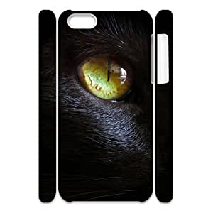 wugdiy Personalized Durable 3D Case Cover for iPhone 5C with Brand New Design black cat eye