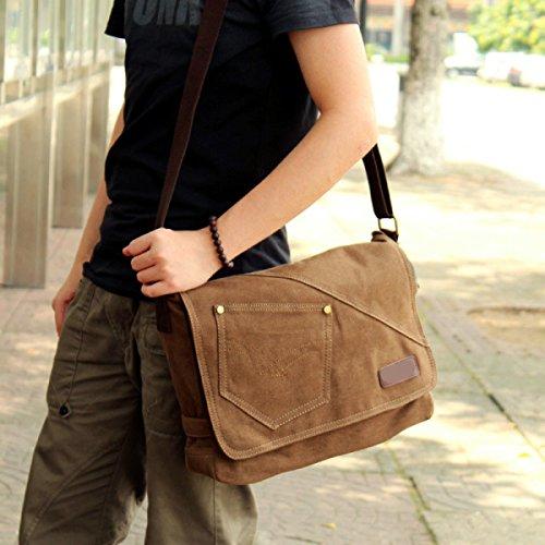 Männer Und Frauen Vintage-Leinwand Messenger Ipad Schulter Tote Sling Freizeit Tasche,Brown-36cm*10cm*28cm