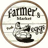 Smart Blonde Farmers Market Eggs Novelty Metal Circular Sign C-593