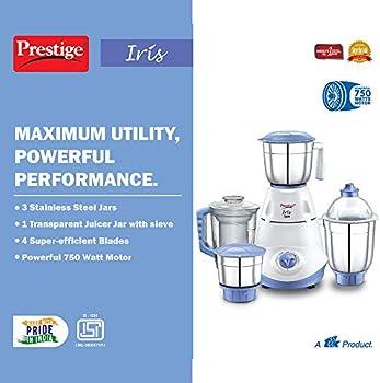 1 Juicer Jar Prestige Iris 750 Watt Mixer Grinder with 3 Stainless Steel Jar
