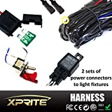 Xprite 2 Leg Heavy Duty Off Road ATV/Jeep LED Light Bar Wiring Harness 12 Voltage - 40 Amp Relay With Red LED Light Pilot Toggle ON/OFF Switch For LED Work Light Lamp & LED Work Light Bar