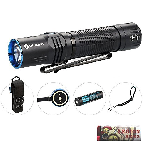 (OLIGHT M2R Warrior tactical flashlight cree led 1500 lumen with 10A HDC 3500mAh 18650 Rechargeable battery, usb magnetic cable, Holster and LegionArms sticker (LED: Cool White (CW)))