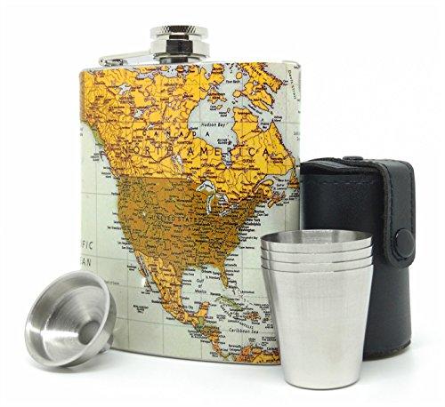 Premium Hip Flask Gift Set for Men & Women - Vintage World Map Style Stainless Steel 7 oz (Mini Liquor Gift Set)