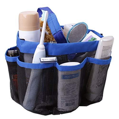Nivalkid 1PC Creative Foldable 8 Grid Oxford Fine Mesh Storage Bag for Bathroom Washing Storage Bag Grid Storage Tote Toiletries Organizer -The Perfect Bathtub Toy Holder (Blue)