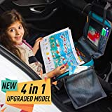 Kids Travel Tray for Car Seat - 4 in 1 Car Seat Organizer for Kids, Toddlers & Children - Portable Entertainment Car Seat Tray - Backseat Car Organizer for Play, Storage &Food - Easy to Clean