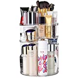 Jerrybox 360 Degree Rotation Makeup Organizer Adjustable Multi-Function Cosmetic Storage Box, Large Capacity, 7 Layers, Fits Toner, Creams, Makeup Brushes, Lipsticks and More, Transparent