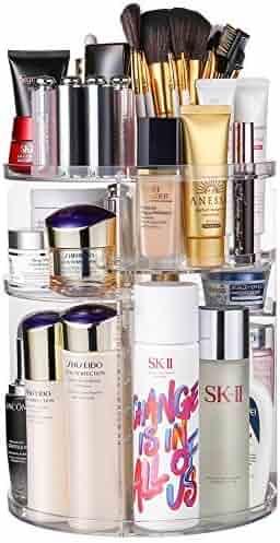 Jerrybox Acrylic Makeup Organizer, 360° Rotating Cosmetic Storage Display Box, Large Countertop Shelf Vanity Organizers for Bathroom, Round
