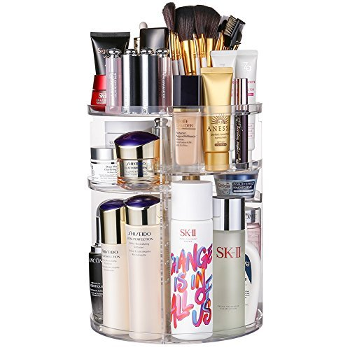 Jerrybox Acrylic Makeup Organizer, 360° Rotating Cosmetic Storage Display Box, Large Countertop Shelf Vanity Organizers for Bathroom, Round