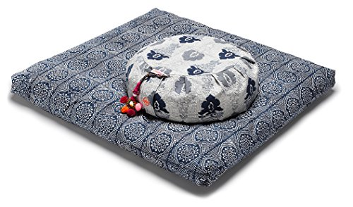 chattra Navy Monsoon Zafu & Navy Bandhani Zabuton Meditation / Yoga Set by Chattra LLC