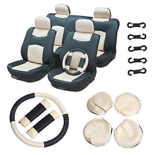 Chevrolet Seats Blazer - ECCPP Universal Car Seat Cover w/Headrest/Steering Wheel/Shoulder Pads - 100% Breathable Mesh Cloth Stretchy Durable for Most Cars Trucks Vans(Beige/Black)