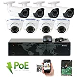 GW Security 8CH 5 Megapixel 1920P Video Home Security Camera System, 4pcs HD 1920p 5MP Outdoor Bullet & 4pcs Dome IP Camera ,80-120ft Night Vision, 330ft Transmit Range, 2TB HDD